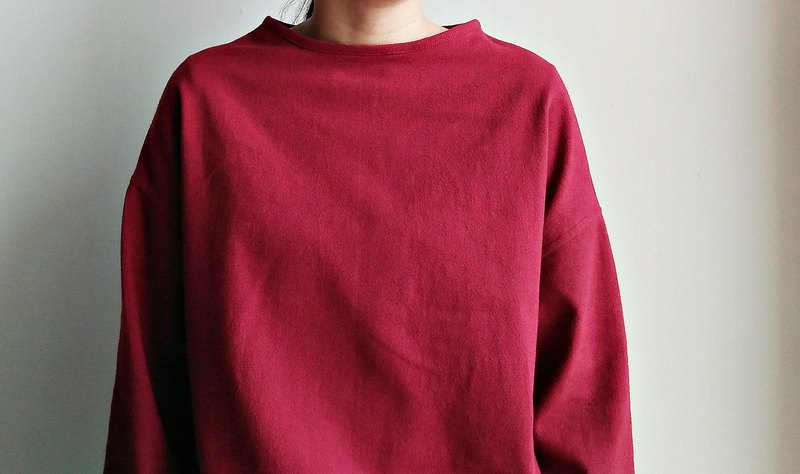 Boat collar shoulder coat red blended