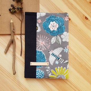 A5/25K adjustable cloth book cover gray bird and flower