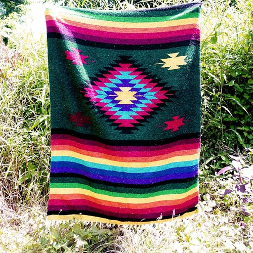 BajuTua / vintage / handmade blankets Mexico - Aziteke green color diamond pattern Mexican rug