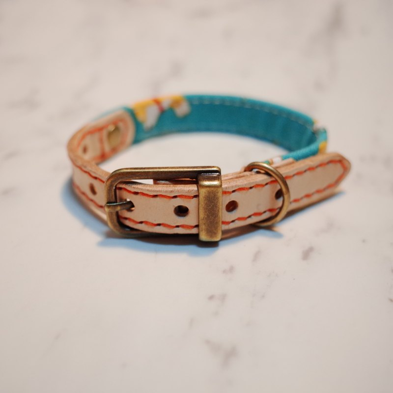 Dog big cat s collar and Fengchai dog blue green series tanned leather cotton can be on the rope plus purchase tag