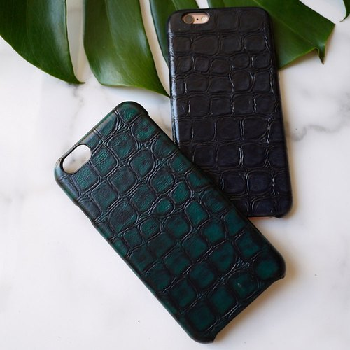 AOORTI :: Apple iPhone 6s/6s Plus Handcrafted Leather Coat Case/Mobile Phone Case - Crocodile/Blue Gray