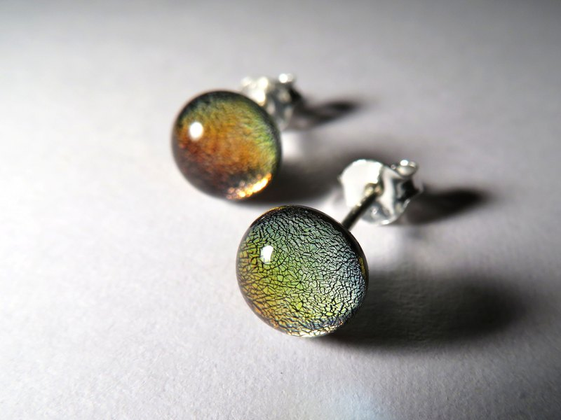 Jewelry Glass Sterling Silver Ears / Autumn (Auricular Needles, Ear Clips)