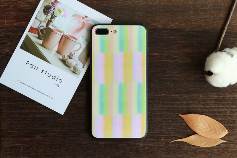Color striped glass phone case