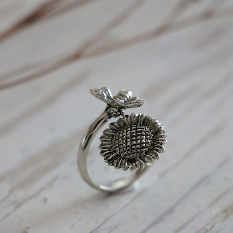 honey Bee Ring Sterling Silver sunflower Statement Nature Adjustable couple boho