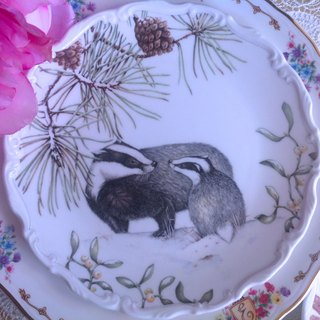 ♥ ♥ Annie crazy Antiquities British system Royal Albert bone china plate and autumn seasons animals - weasel painted cake pan, dessert plate, fruit plate ~ 1987