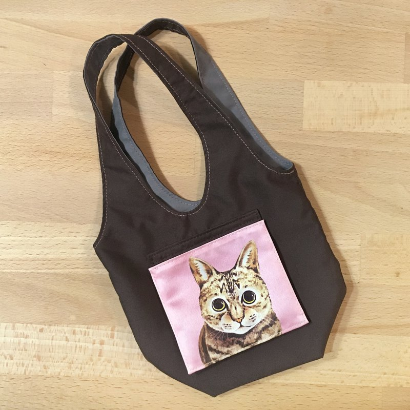 Double-sided water-repellent drink cup bag - tabby cat (optional color)
