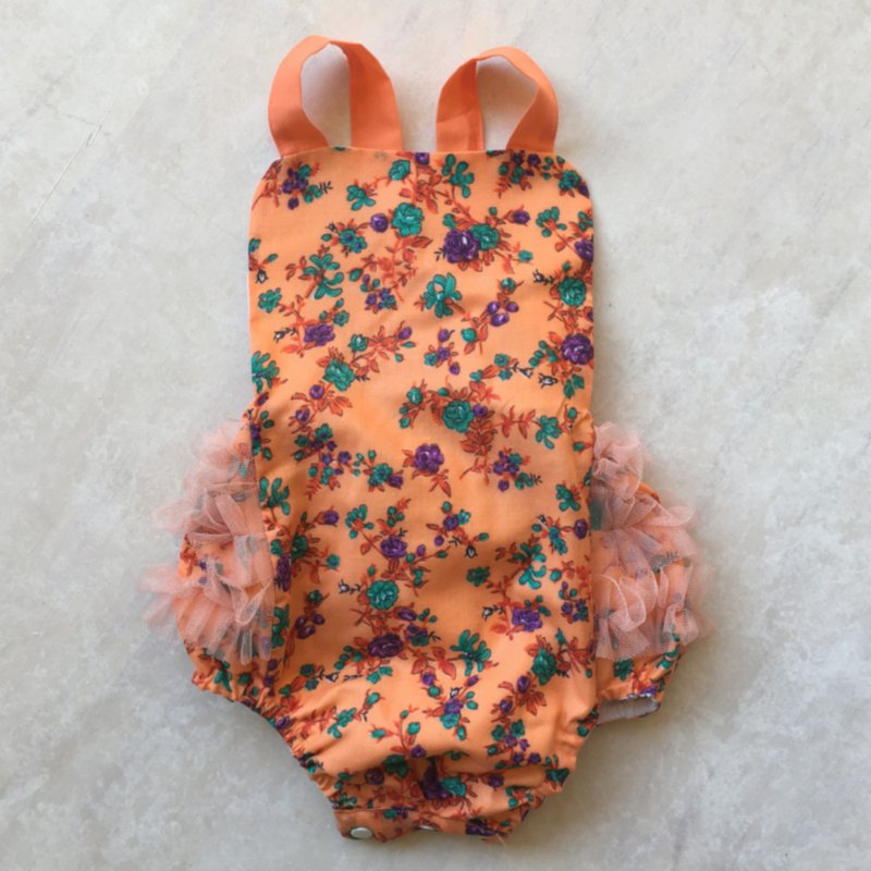 Baby Girls Ruffle Romper Onesie Overalls in Peach Flowers