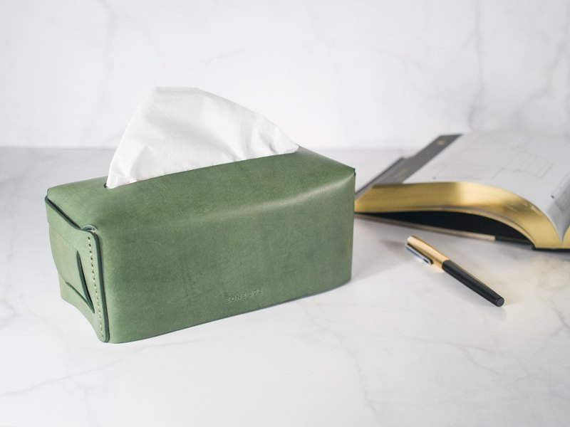 Leather Tissue Box  Dark Green  Vegetable tanned leather