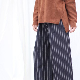 [Spot] original retro literary yarn-dyed linen wide-leg pants - dark blue wide stripes