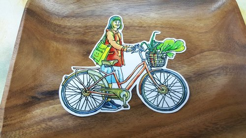 "Bonnie watercolor painted bicycle Stickers ""Bicycle Girl"""
