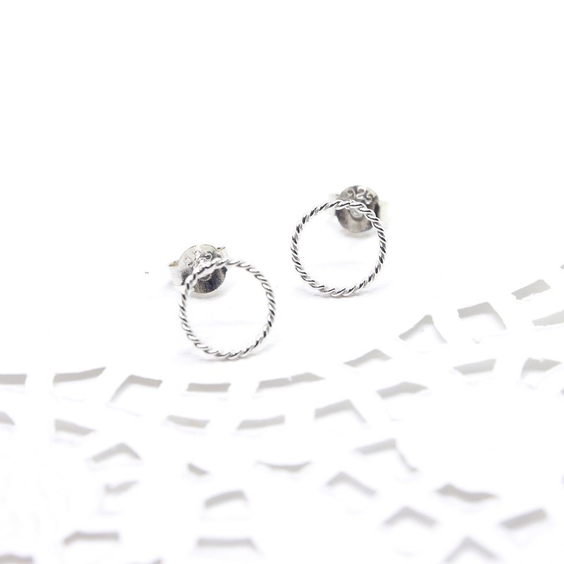 3:am Silver - 925 Silver Twist Round Earrings 925 Silver Circle Earrings