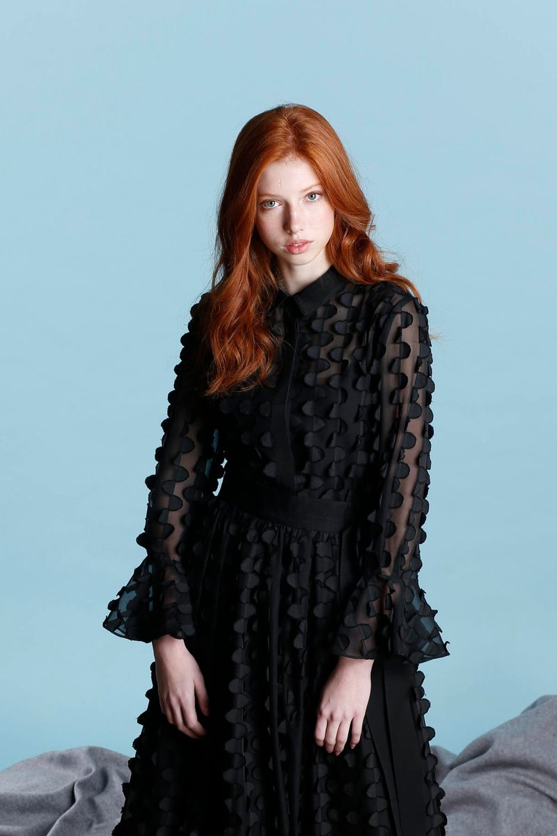 Disc Burning Flower Irregular Ruffle Sleeve Shirt / Black