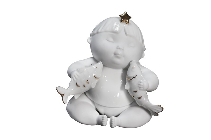 Handmade Porcelain sculpture- Angel and Star Signs-Pisces