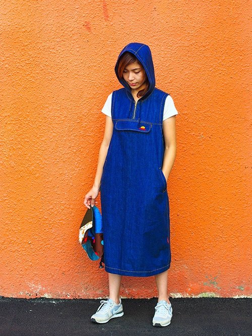 Calf Calf Village village vintage vintage denim vest skirt wild animal Hooded Long embroidery {skateboard piggy} [V-06]