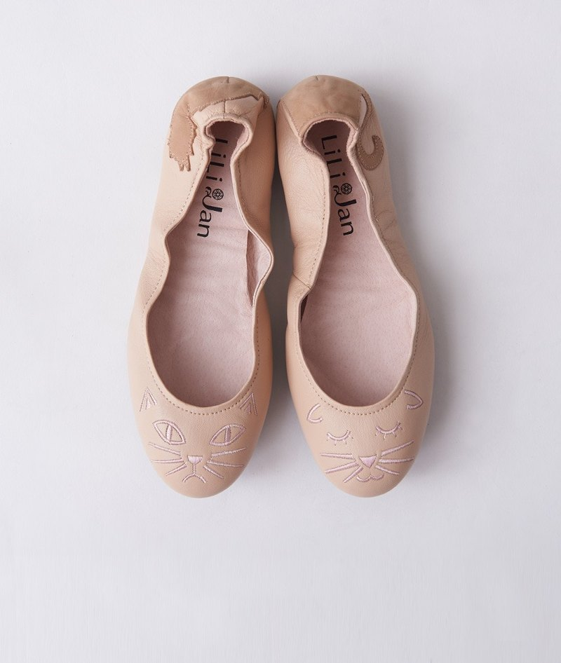 [Cat's March] Two kinds of 喵喵 ‧ folding ballet shoes _ nude powder bubble