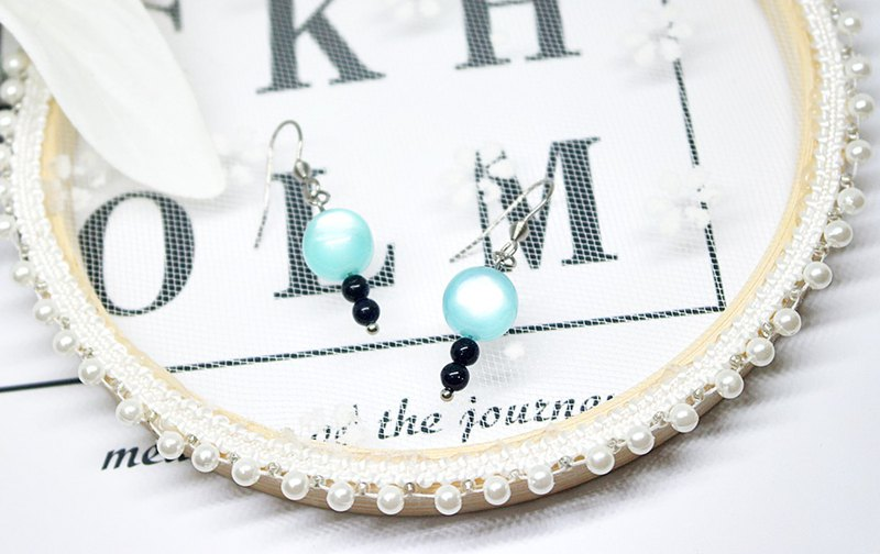 Stainless steel X natural stone hook earrings <deep sea> => limited edition *1