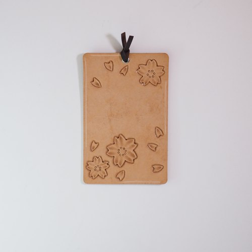 Leather Postcard - blossom cherry