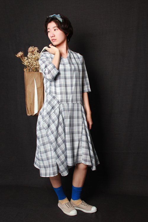 And - Childhood Memory - Back button long sleeve plaid dress