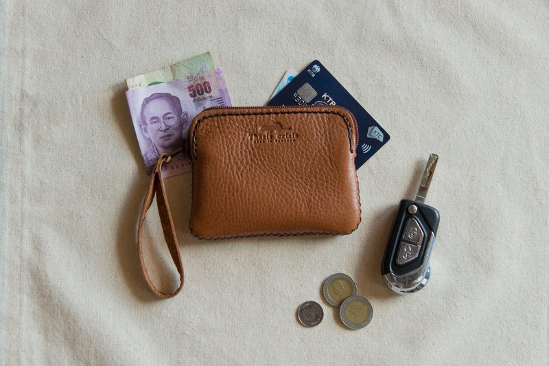 'TRIPLET MINI' SMALL BAG / COIN PURSE MADE OF COW LEATHER-BROWN/TAN