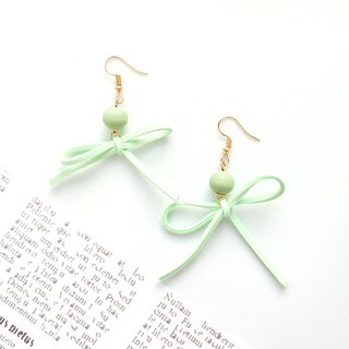 Handmade Stylish Bow Earrings Rose Gold Series-light green limited