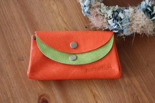 Small wallet orange × yellow-green of pigskin