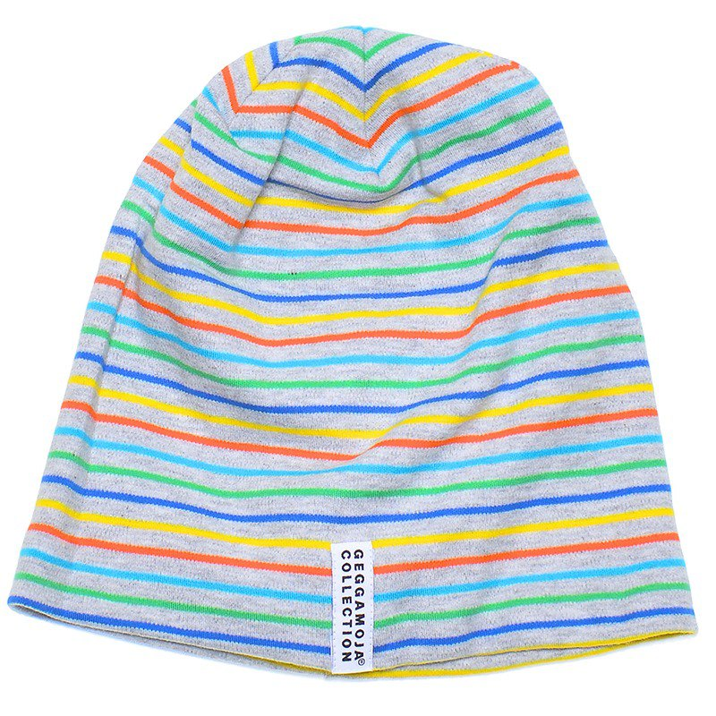 [Nordic children's clothing] Swedish organic cotton baby bristles layered hat 1 to 2 years old color stripes