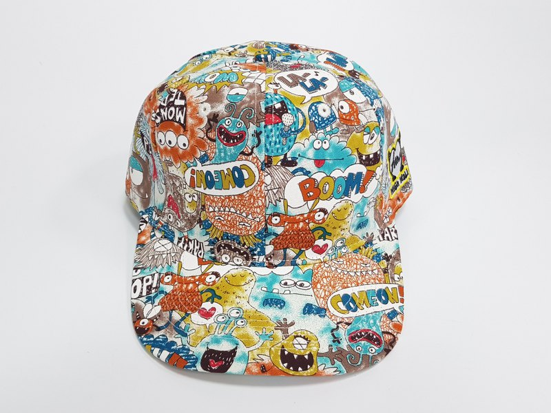 Embroidered printed baseball cap / / small monster (orange) / # #老帽#潮帽#运动#遮阳