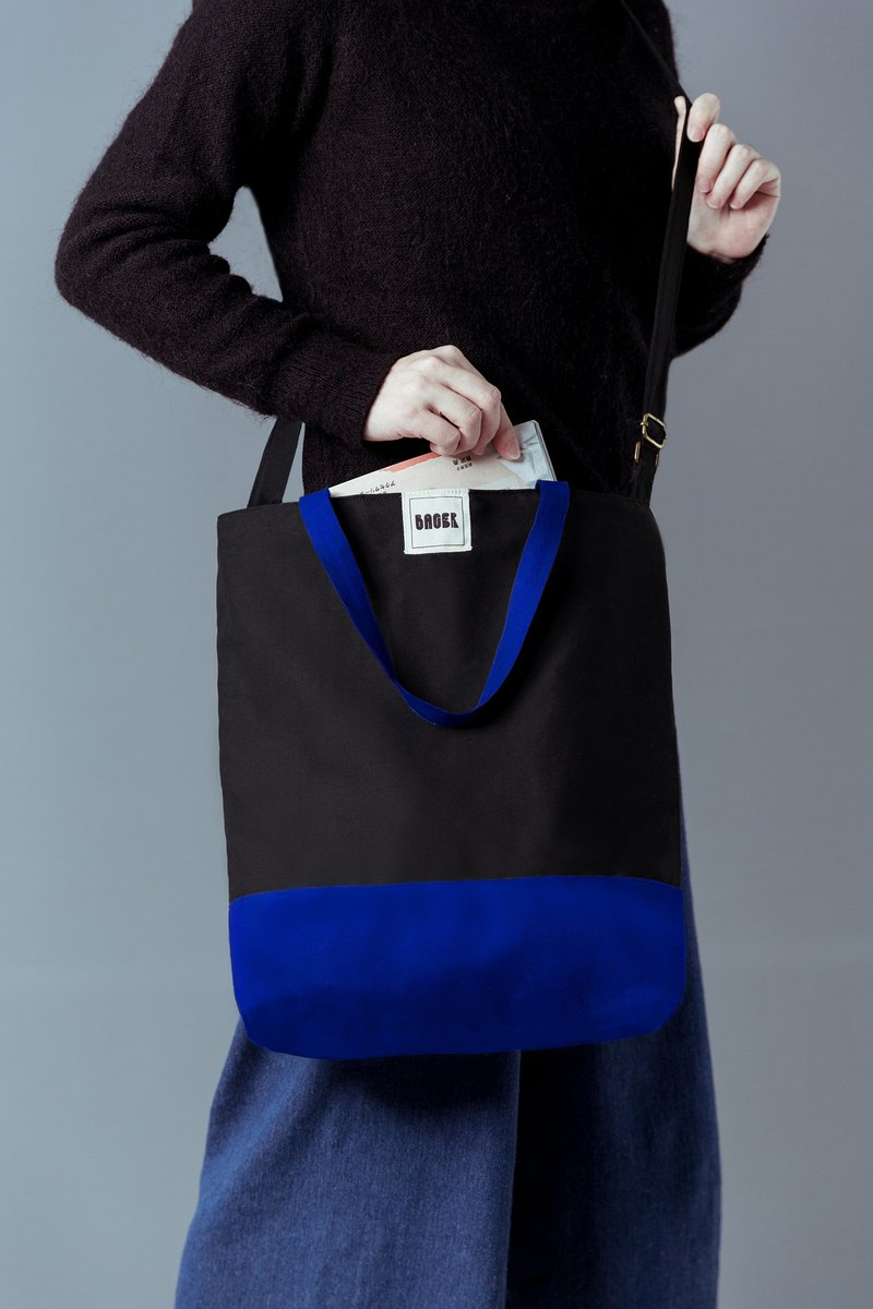 Simple color matching adjustable strap three-use canvas bag shoulder portable diagonal back black + sapphire blue