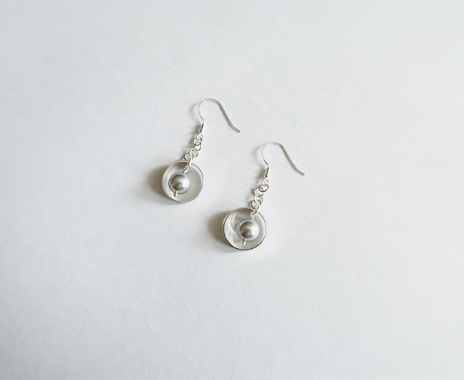 Circle Pearl/Drape-style/Gray/Earrings/Swarovski/Sterling Silver/By hand【ZHÀO】SZE1792