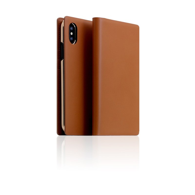 SLG Design iPhone Xs / X D5 CSL Classic Calfskin Side Leather Case - Camel