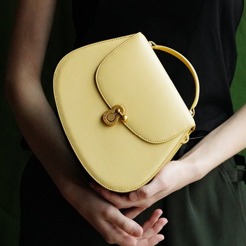 Milky yellow, cute, sloping, big-name, wind, wild, ins, big, saddle bag