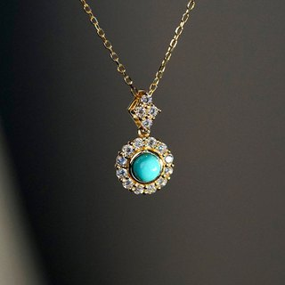9K gold beauty pine clavicle chain VISHI original original ore US turquoise zircon slender necklace female