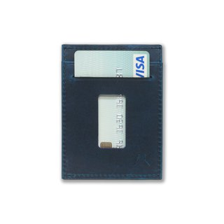 Slim Card Holder Minimalist Wallet - Haru Wallet (Crazy Horse Steel Blue)