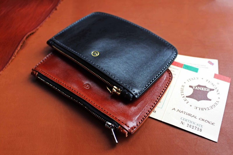 [Yankee light and thin coin purse] Yankee Italian soft vegetable tanned leather coin purse