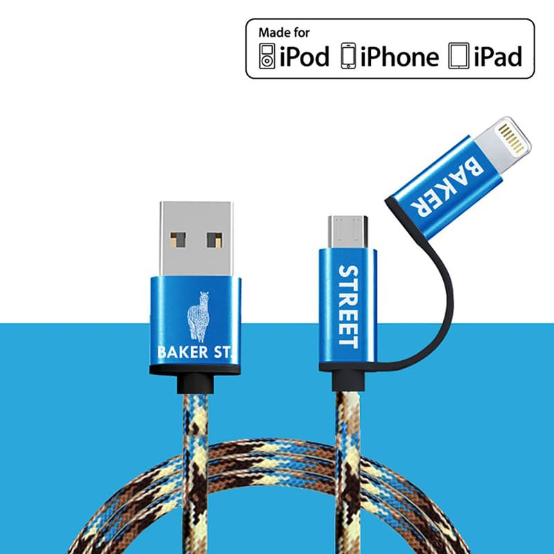 British Fashion Brand -Baker Street- 2IN1 Charging Cable - Camo Blue