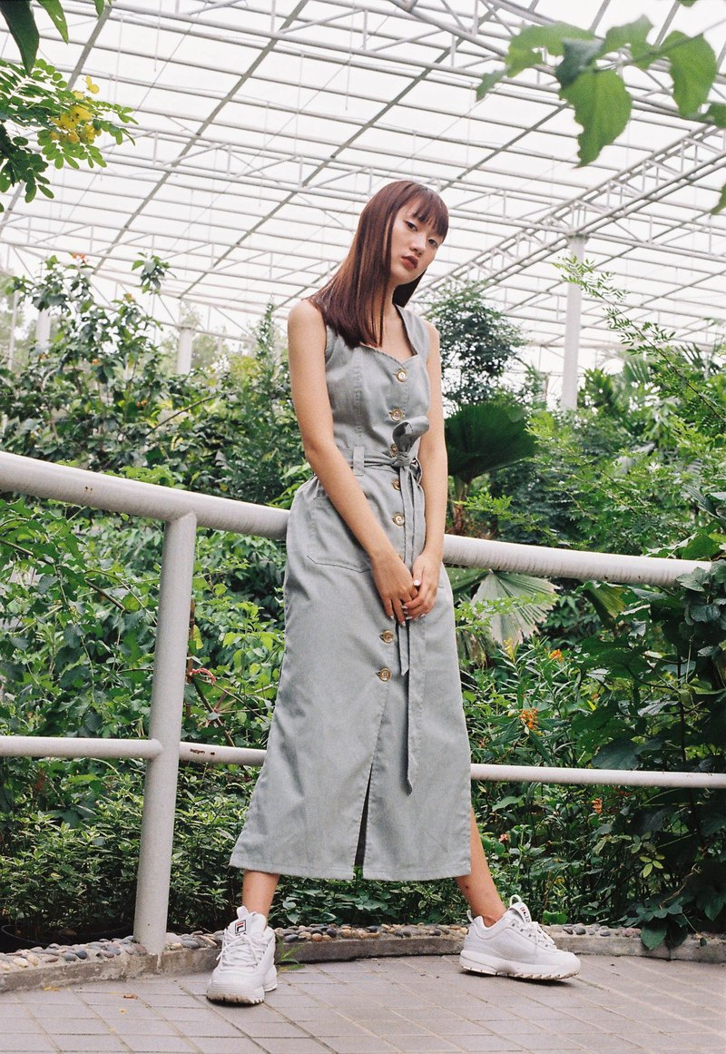 Button Up Dress (Olive Green)