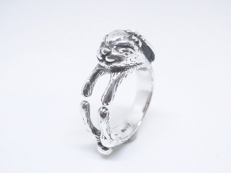 """Two silver silver"" [happy smile rabbit adjustable silver ring]"