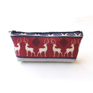 Christmas Elk Pen Bag (Medium) / Storage Bag Pencil Case Cosmetic Bag