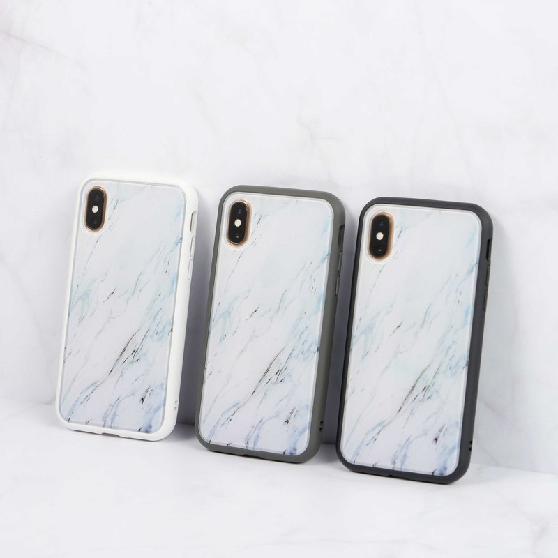 Mod NX frame back cover dual-use phone case / texture stone pattern - silver fox for iPhone series