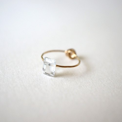 Crumple & stone ring White Topaz 14kgf ring