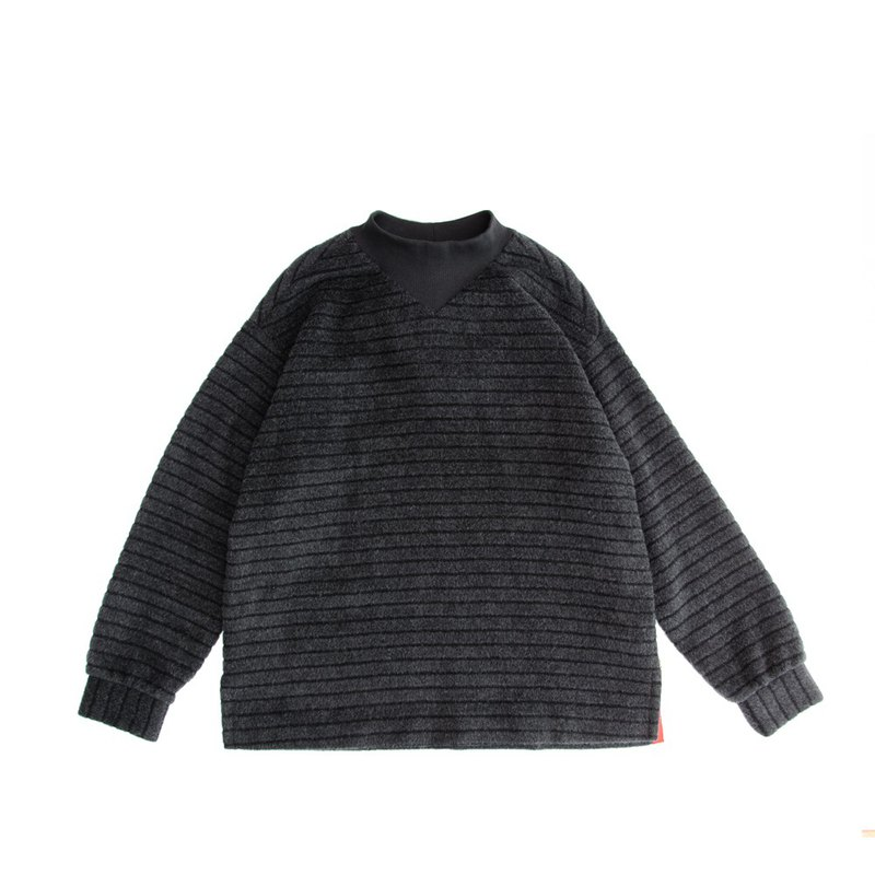 Angola wool striped zipper knitted top