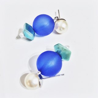 Marygo ﹝ ﹞ geometric cut blue pearl earrings