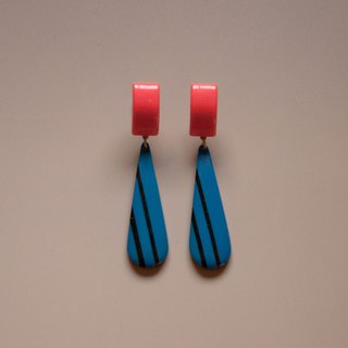 Retro Stripes Blue & Orange Drop Earrings