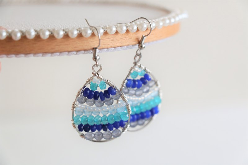 Blue agate wire wrapped dangle earrings - silver plated earrings