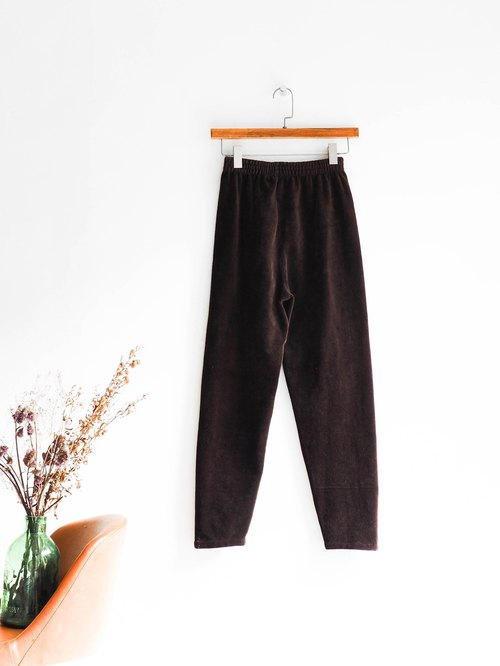 Rivers and mountains - Ehuan chocolate coffee tea antique calligraphy AB cordon trousers elastic trousers pants vintage