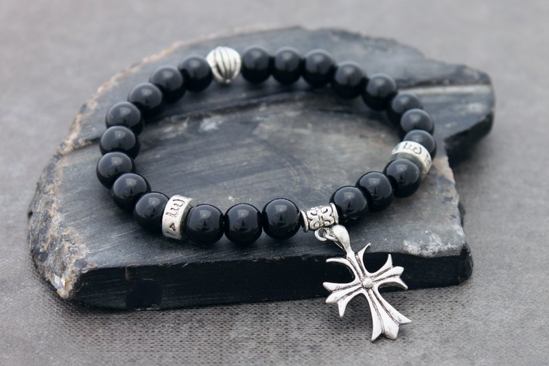 Obsidian Bead Bracelets Oxidized Silver Cross Charm Men Women Unisex