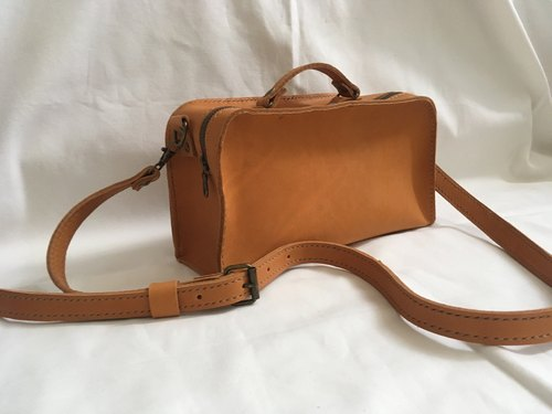 Rectangle Leather Shoulder Bag with Adjustable Strap