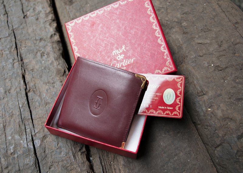 Cartier Cartier Burgundy red short clip vintage wallet banana cat