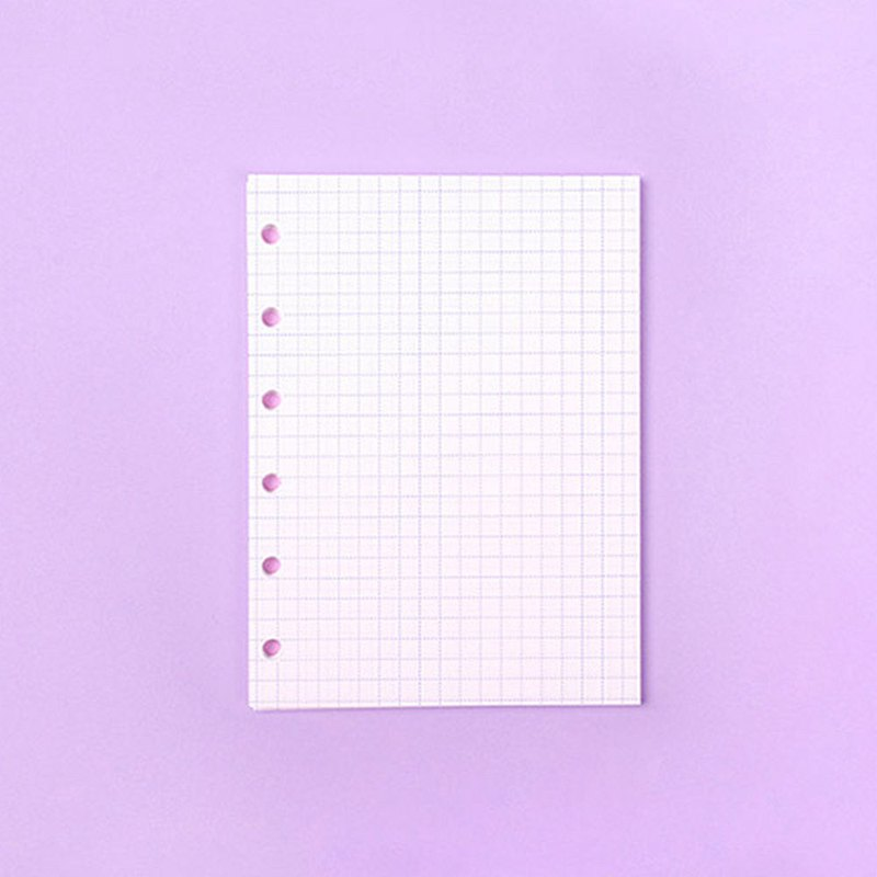Mini 6 hole inner page series 02. White bottom purple line square eye