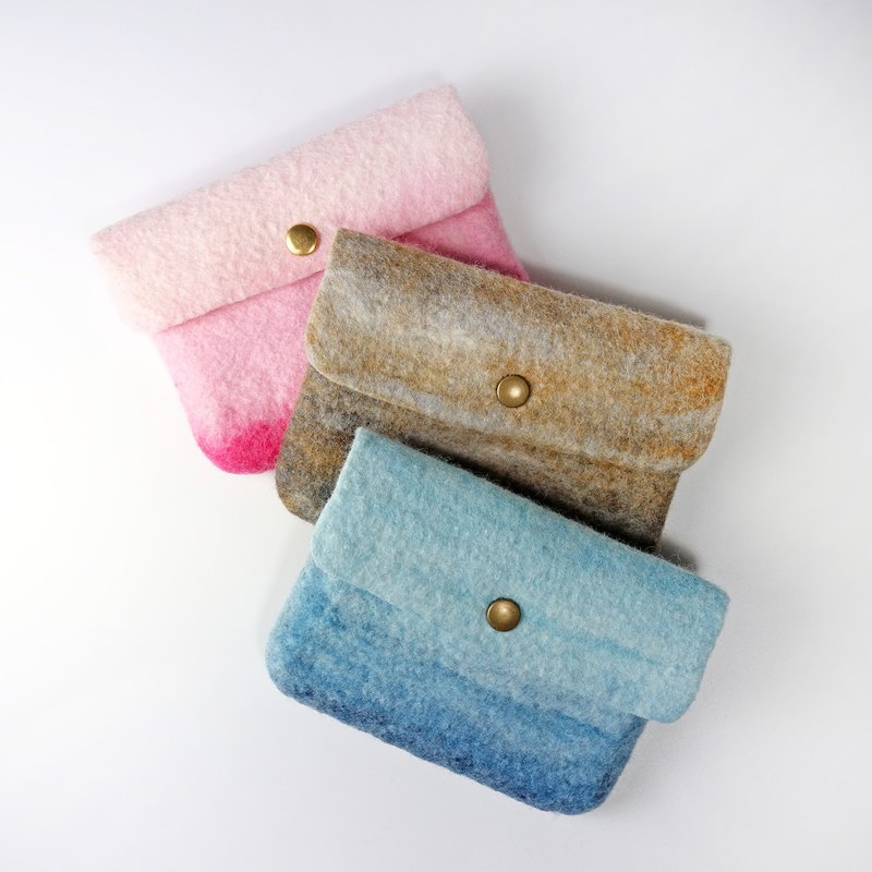 Hand-mixed color design integrated wool felt wallet